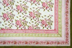 Hand Block Floral Print Bed Sheet