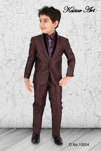 New Boys BROWN 5-Piece Suit with Mocha Vest Set. Includes brown polyester three button notch lapel suit coat, matching brown polyester flat front lined suit pants with adjustable elastic waist in the back, the bigger size pants do have belt loops, ivory laydown collar shirt, mocha patterned polyester vest, necktie and pocket square.