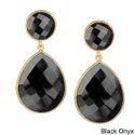 Black Onyx Gold Vermeil Bezel Set Earrings