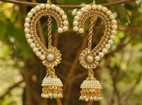 60c0623a2c15 Designer Bridal Pearl studded Long Peacock Jhumkaa Earrings