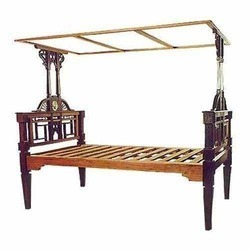 Brown Rosewood Tiled Canopy Bed