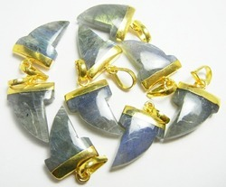 Labradorite Shark Tooth Shape Pendant