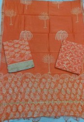 Ghicha Border Orange Chanderi Suit