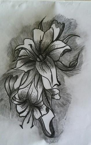 Pencil sketch flower