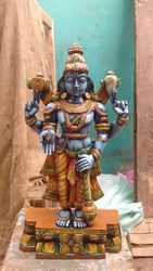 Multicolour Lord Krishna Wooden Statue 18 Inches