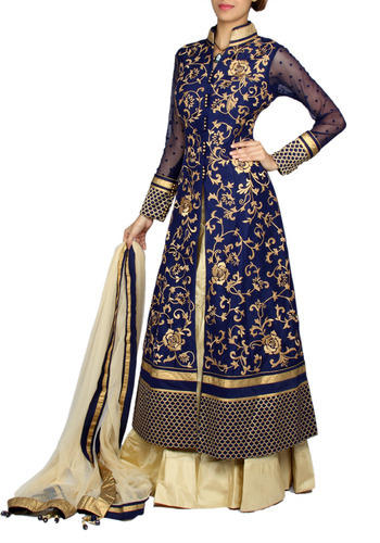 6fe0b57223 Navy Blue And Gold Designer Wedding Jacket Anarkali Suit at Rs 11700 ...