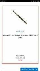 Addisson High Speed Steel ADDISON HSS TAPER SHANK DRILLS