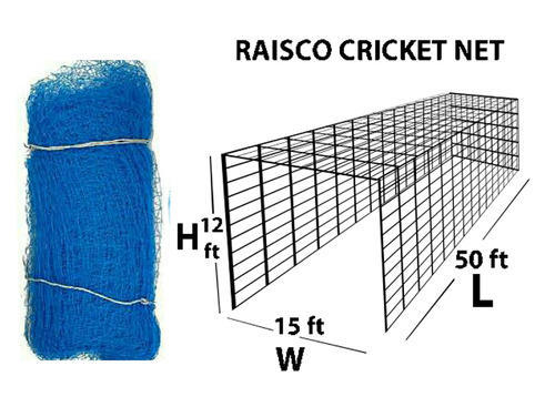Blue Hdpe Raisco Ready Made Cricket Net With Roof Borders Stitches Size 50x15x12 Feet Rs 3999 Piece Id 13439386012