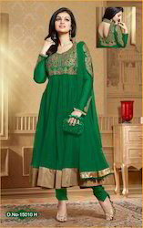 Party Wear Fancy Green Lovely Anarkali Suit