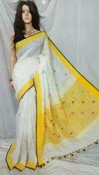 Body Designed Handloom Linen Butti Work Jamdani Saree, 6 m (with blouse piece)