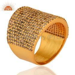 18k Solid Gold Pave Diamond Ring Jewelry