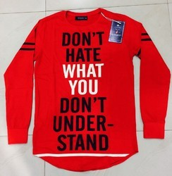 Red Printed Full Sleeve T-Shirt