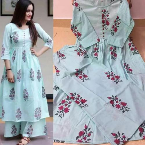 Sky Blue Kurti With Plazo