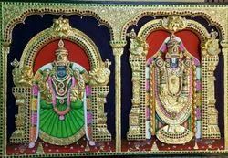 Embossed Tirupati Balaji Tanjore Paintings