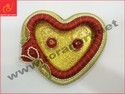 Red Gold Heart Shape Ring Ceremony Tray