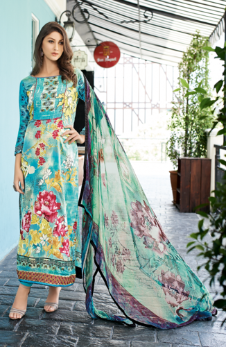 7a7977980bd Blue and Green Unstitched Glaze Cotton Salwar Kameez at Rs 1925 ...
