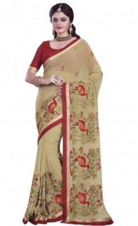 b27819c8cc8e0 Mesmerizing Beige Coloured Chiffon Saree at Rs 4985
