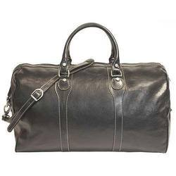 Black Traveling Leather Bag, For Travelling Luggage