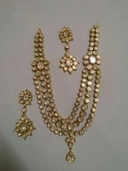 Three Rows Kundan Meena Necklace Set