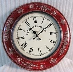 Antique Wooden Hand Painted Clock