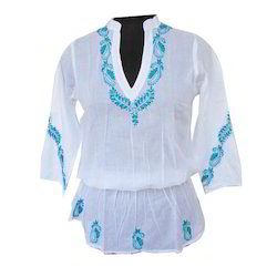 Chikan Kaftan Cotton Top