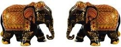 Wooden Hand Painted Art Work Elephant Statue for Home Decor