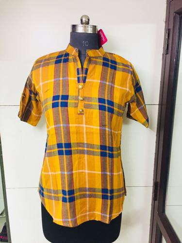 Rayon Checks Western Tunic