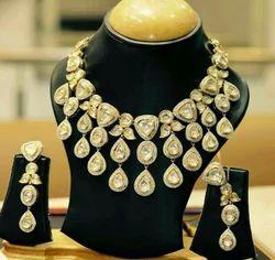 Party Wear Nakkash Jewellers Kundan Polki Diamond Necklace Set