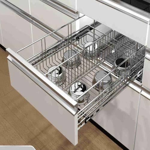 Stainless Steel Modular Kitchen Cabinets: SS Modular Kitchen Basket, For Home, Rs 1200 /square Feet