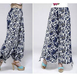 Ladies Blue and White Printed Palazzo Pant