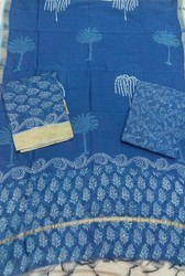 Ghicha Border Blue Chanderi Suit
