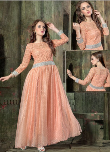 977deab925 Light Orange Net Embroidery Designer Gown, Party Wear Gown - Uttam ...