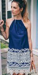 Blue Cotton Lace Dress, Packaging Type: Carton