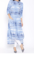 Formal Aujjessa Women Blue Printed High Low Kurta
