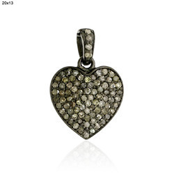 Pave Diamond Hart Charms Pendant