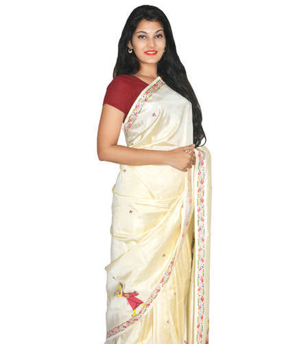 81d9b1229e Half And Half Cream Patachitra Tussar Silk Saree, With Blouse Piece ...