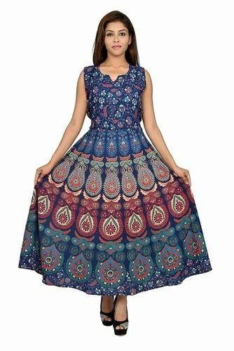 Female Jaipuri Half Sleeves Frock