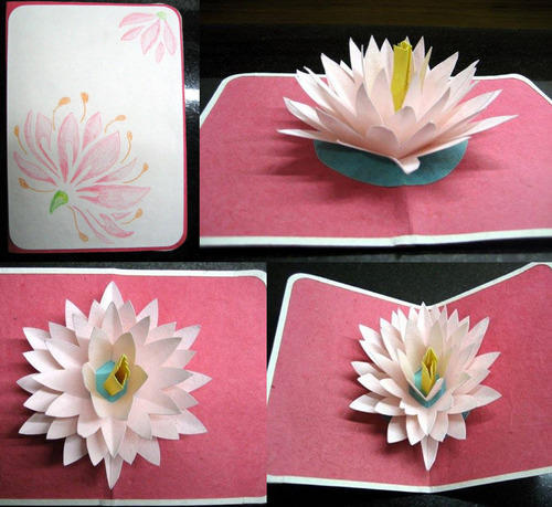 lotus pop up greeting card at rs 150 piece ग र ट ग