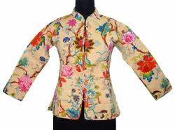 Full Sleeve Floral Indian Cotton Jacket, Size: S M L XL XXL