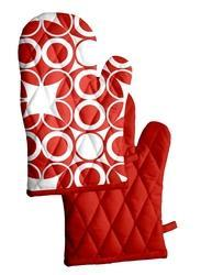 Red Cotton Printed Kitchen Glove, Size: 18 X 32 Cm