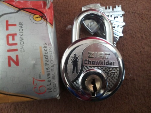 aluminium heavy padlock with 10 levers chrome and silver rs 85