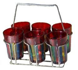 Multicolor Iron Tray With Set Of 6 Painted Glasses, For Home