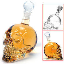 Cool Novelty Special Glass Skull Whiskey Decanter