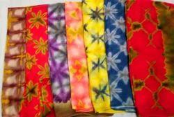 Georgette Lahariya Cotton Sarees, Hand, 5.5 m (separate blouse piece)