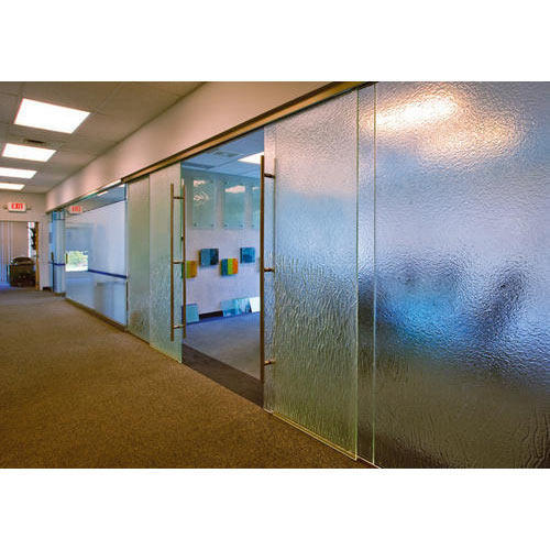 Interior Glass Wall Partition, Stained, Etched & Laminated