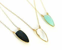 Gemstone Bezel Set Pendant Necklace