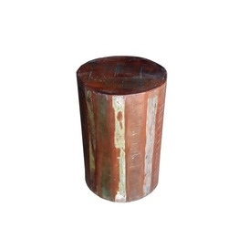 K D Craft Exports Rustic Reclaimed Wood Round Stool