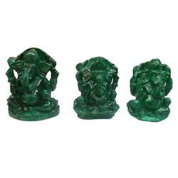 Malachite Ganesha Stone Figures
