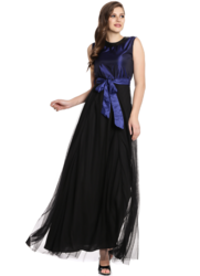 Blue and Black Silk Net Party Wear Gown