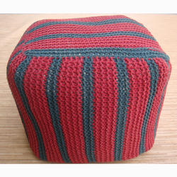 Red And Gray Knitted Pouf